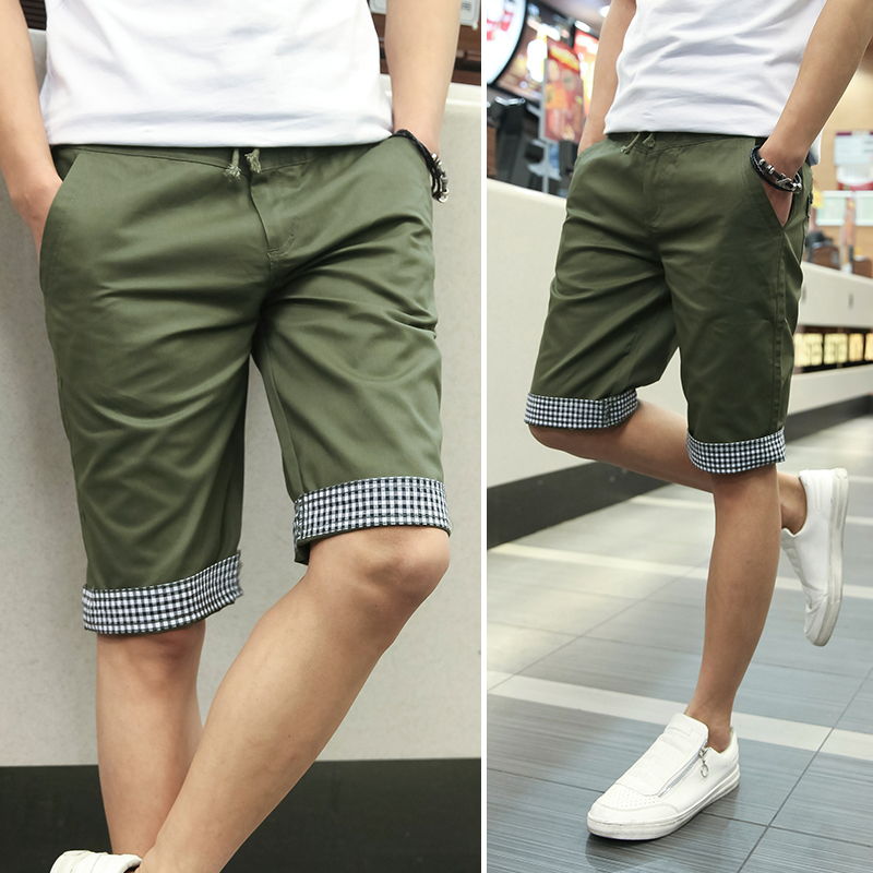 Men Shorts Plaid Ruched Casual Dress Cotton Slim Fit Sports Shorts ...